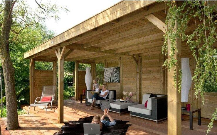 Hillhout living modulair overkappingen bij den bleker hout db hout - Bouw een overdekt terras ...